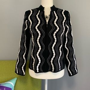 Ming Wang Black White Embroidered Zip Jacket